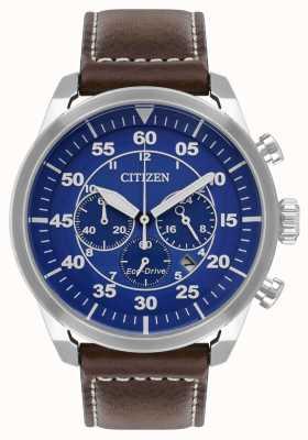 Citizen Cinturino in pelle marrone avion eco-drive da uomo quadrante blu wr100 CA4210-41L