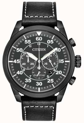 Citizen Cronografo da uomo con cinturino in pelle nera avion eco-drive nero CA4215-21H