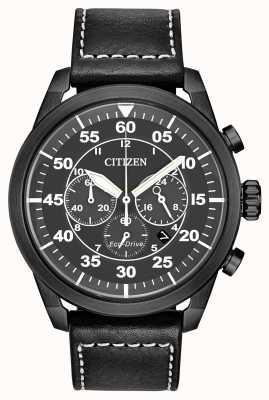 Citizen Cronografo da uomo avion eco-drive in pelle nera con quadrante nero CA4215-21H