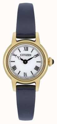 Citizen Tracolla da donna in ecopelle blu con cinturino in pelle placcato oro bianco EG2995-01A