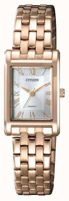 Citizen Quadrante argentato da donna con cassa placcata in oro placcato in oro EJ6123-56A