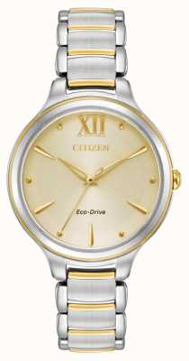 Citizen Womens eco-drive quadrante in oro bicolore wr50 EM0554-82X