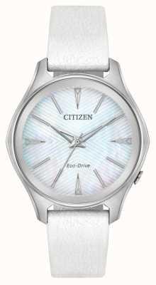 Citizen Cinturino in pelle bianca con quadrante argentato da donna EM0590-03D
