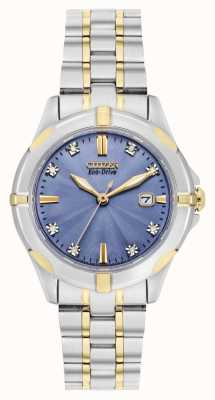 Citizen Quadrante blu diamante sportivo eco-drive da donna bicolore EW1936-53L