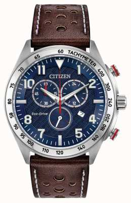 Citizen Mens eco-drive quadrante blu in pelle marrone chrono 100m AT2418-00L
