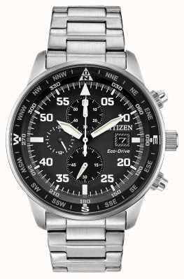 Citizen Mens aviator eco-drive quadrante nero in acciaio inossidabile chrono 100m CA0690-53E