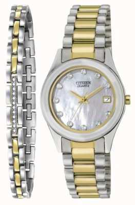 Citizen Set per orologio e bracciale in quarzo madreperlato da donna EU2664-59D-SETR