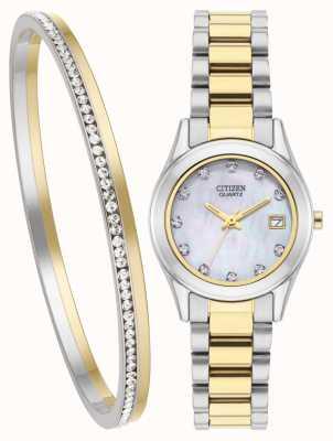 Citizen Set per orologio e bracciale in quarzo madreperlato da donna EU2664-59D-SETR