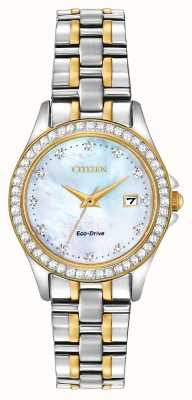 Citizen Custodia da donna in cristallo bicolore eco-drive EW1844-50Y