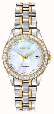 Citizen Custodia da donna con due tonalità di cristallo eco-drive EW1844-50Y
