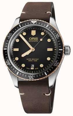 Oris Divers cinturino in pelle marrone sessantacinque 01 733 7707 4354-07 5 20 55