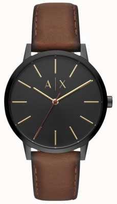 Armani Exchange Quadrante nero con cinturino in pelle marrone da uomo di Cayde AX2706