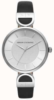 Armani Exchange Quadrante argentato con cinturino in pelle nera di Brooke AX5323