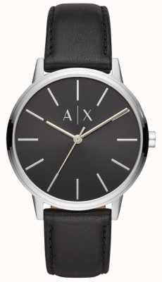 Armani Exchange Quadrante nero con cinturino in pelle nera da uomo Cayde AX2703