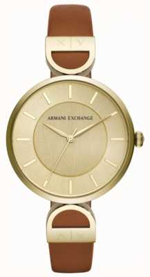 Armani Exchange Cinturino in pelle marrone Brooke da donna AX5324