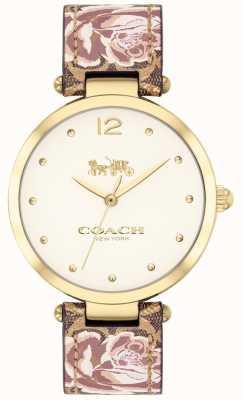 Coach Orologio da donna con cinturino in pelle floreale color oro 14503178