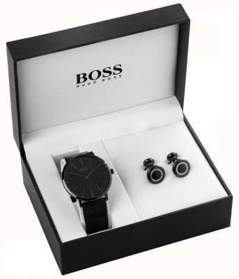Hugo Boss Orologio da uomo in acciaio placcato e set di gemelli 1570067