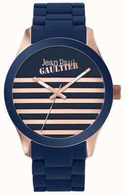 Jean Paul Gaultier Enfants terribles unisex orologio in gomma blu e oro rosa JP8501127