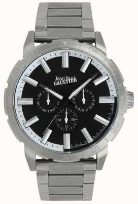 Jean Paul Gaultier Bomber orologio da uomo in acciaio inossidabile con quadrante nero JP8505404