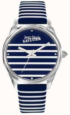 Jean Paul Gaultier (senza scatola) cinturino in pelle per orologio da donna a righe blu scuro JP8502414