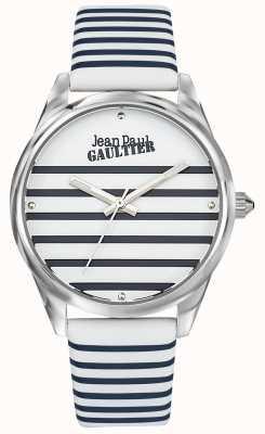 Jean Paul Gaultier (senza scatola) cinturino in pelle per orologio da donna a righe blu scuro JP8502416