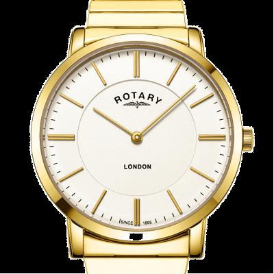 Rotary Orologio da uomo con bracciale espandibile in acciaio inossidabile oro londra GB02766/03