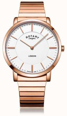 Rotary Orologio da uomo in acciaio con cinturino in espansione in oro rosa londinese GB02767/02