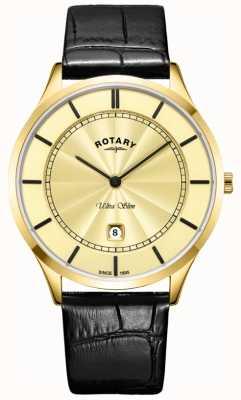 Rotary Cinturino da uomo in pelle color oro nero ultra sottile GS08413/03