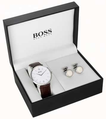 Hugo Boss Set regalo da uomo in pelle marrone con quadrante bianco 1570069