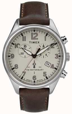 Timex Mens la tradizionale pelle marrone chrono marrone waterbury TW2R88200