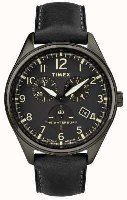 Timex Mens waterbury tradizionale nero chrono in pelle nera TW2R88400