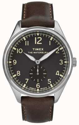 Timex Mens waterbury tradizionale nero in pelle marrone subdial TW2R88800