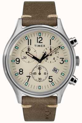 Timex Cinturino da uomo in pelle marrone mk1 sst chrono 42mm TW2R96400