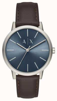Armani Exchange Orologio da uomo cinturino in pelle marrone cinturino blu AX2704