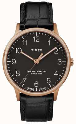 Timex Orologio da uomo in oro rosa classico orologio Waterbury nero TW2R96000