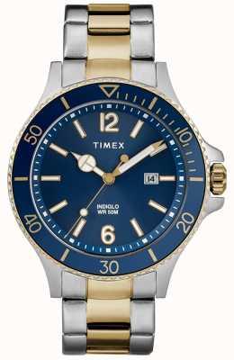 Timex Quadrante blu da uomo in oro bicolore con cinturino in oro e argento TW2R64700D7PF