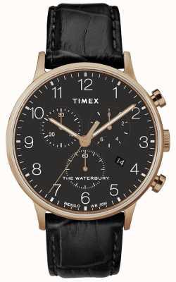 Timex Cinturino da uomo in oro rosa classico orologio waterbury nero TW2R72000D7PF
