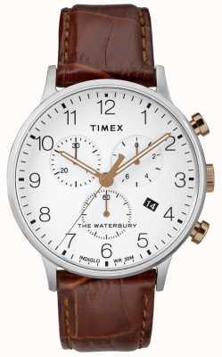 Timex Orologio da uomo cronografo classico waterbury quadrante bianco TW2R72100D7PF