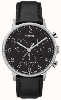 Timex Orologio da uomo cronografo classico waterbury cinturino nero TW2R96100D7PF