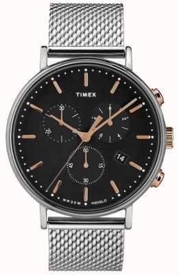 Timex Orologio quadrante nero in argento con quadrante argentato TW2T11400D7PF