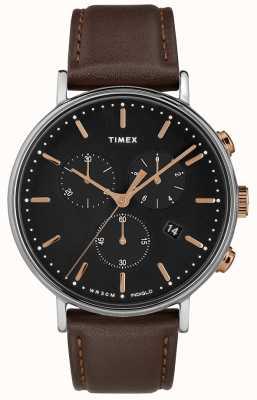 Timex Quadrante nero con cinturino cronografo marrone fairfield TW2T11500D7PF