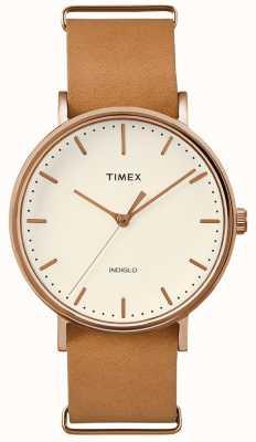 Timex Orologio a mano con cinturino marrone fairfield 3 TWF3C8160UK