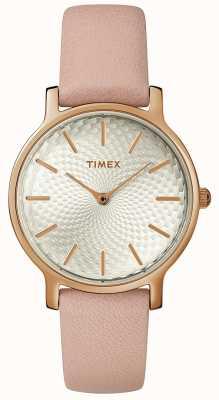 Timex Orologio da donna in pelle con cinturino metropolitano in argento oro rosa TW2R85200D7PF