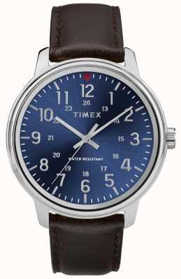 Timex Quadrante blu da uomo in pelle marrone con quadrante blu TW2R85400