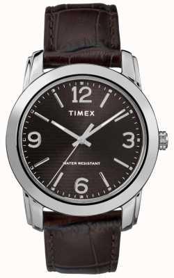 Timex Quadrante nero con cinturino in coccodrillo marrone in pelle marrone TW2R86700