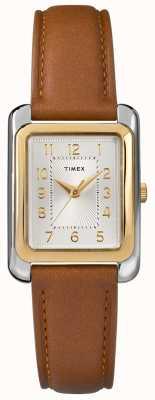 Timex Cinturino in pelle marrone da donna con quadrante argentato TW2R89600D7PF