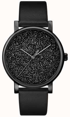 Timex Orologio da donna in pelle nera con cristalli swarovski TW2R95100D7PF