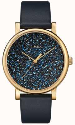 Timex Orologio da donna in pelle blu con cristalli swarovski TW2R98100D7PF