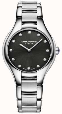 Raymond Weil Quadrante a quadrante con diamanti neri per donne 5132-ST-20081