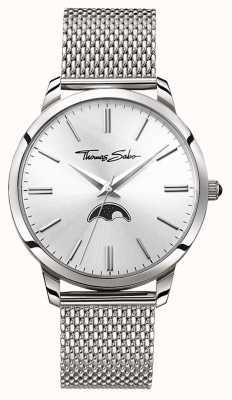 Thomas Sabo Mens ribelle a cuore spirito moonphase orologio maglia d'argento WA0324-201-201-42